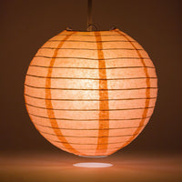 "8"" Roseate / Pink Coral Round Paper Lantern, Even Ribbing, Chinese Hanging Wedding & Party Decoration"