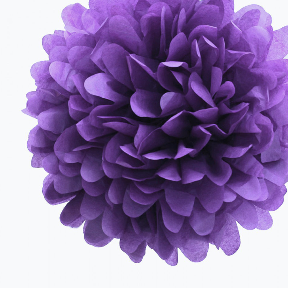 "EZ-Fluff 8"" Dark Purple Tissue Paper Pom Pom Flowers, Hanging Decorations (4 PACK)"