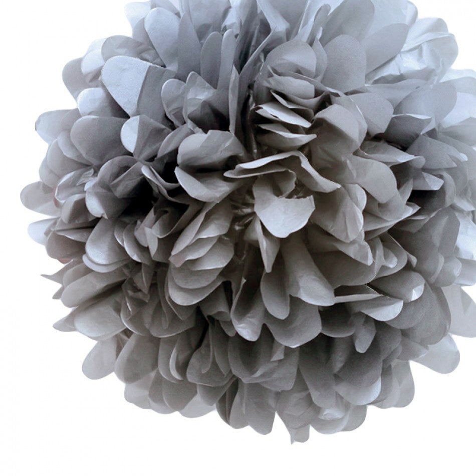 "BLOWOUT EZ-Fluff 8"" Charcoal Gray Tissue Paper Pom Pom Flowers, Hanging Decorations (4 PACK)"