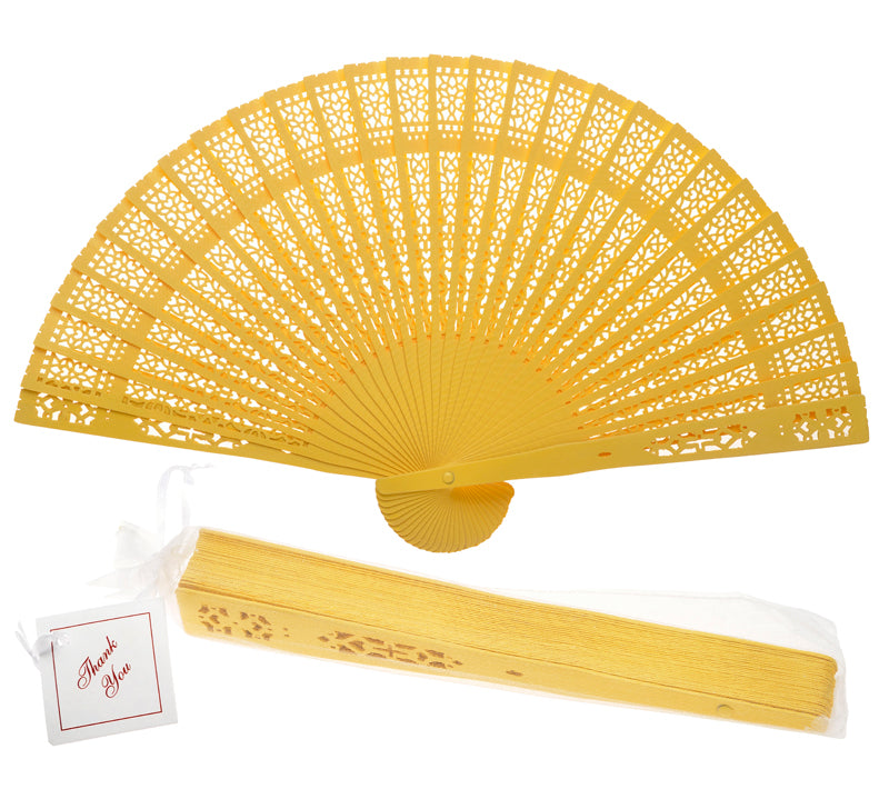 "8"" Yellow Wood Panel Hand Fan w/ Organza Bag for Weddings - PaperLanternStore.com - Paper Lanterns, Decor, Party Lights & More"