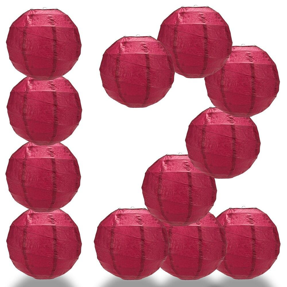 "BULK PACK (12) 20"" Velvet Red Round Paper Lantern, Crisscross Ribbing, Chinese Hanging Wedding & Party Decoration - PaperLanternStore.com - Paper Lanterns, Decor, Party Lights & More"