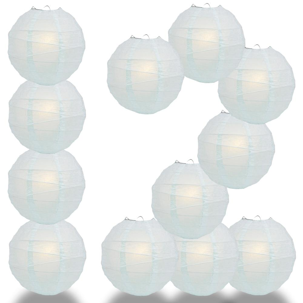 "BULK PACK (12) 20"" Arctic Spa Blue Round Paper Lantern, Irregular Ribbed, Chinese Hanging Wedding & Party Decoration - PaperLanternStore.com - Paper Lanterns, Decor, Party Lights & More"