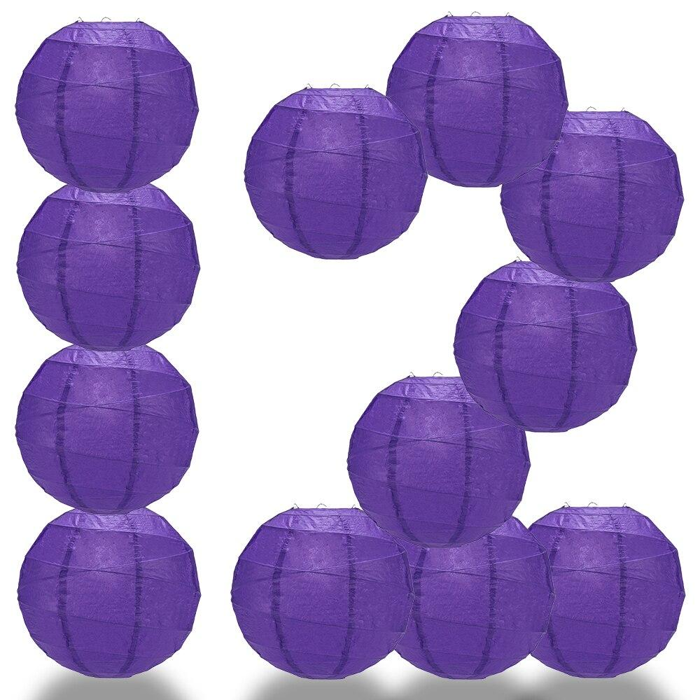 "BULK PACK (12) 20"" Plum Purple Round Paper Lantern, Crisscross Ribbing, Chinese Hanging Wedding & Party Decoration - PaperLanternStore.com - Paper Lanterns, Decor, Party Lights & More"