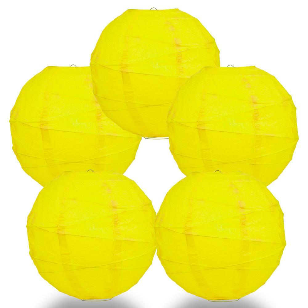 "BULK PACK (5) 24"" Yellow Round Paper Lantern, Crisscross Ribbing, Chinese Hanging Wedding & Party Decoration - PaperLanternStore.com - Paper Lanterns, Decor, Party Lights & More"