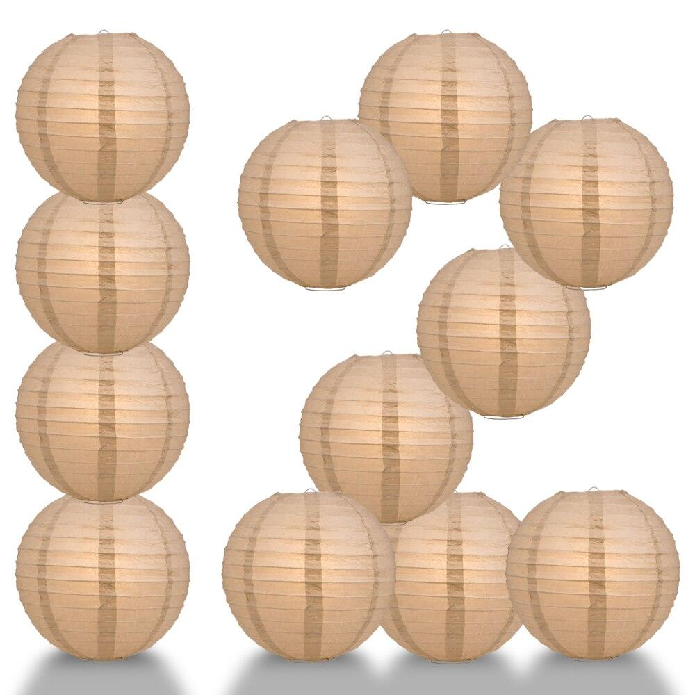 "BULK PACK (12) 24"" Mocha / Light Brown Round Paper Lantern, Even Ribbing, Chinese Hanging Wedding & Party Decoration - PaperLanternStore.com - Paper Lanterns, Decor, Party Lights & More"