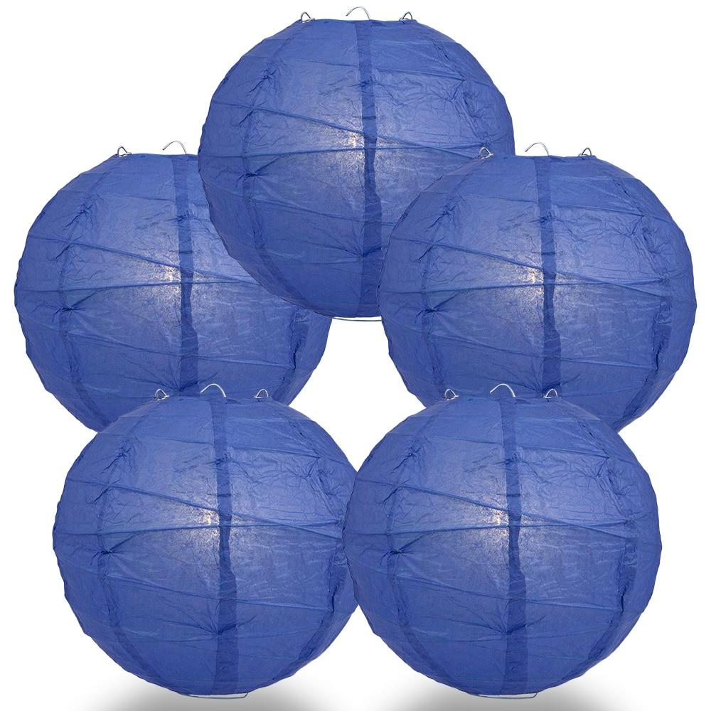 "BULK PACK (5) 24"" Dark Blue Round Paper Lantern, Crisscross Ribbing, Chinese Hanging Wedding & Party Decoration - PaperLanternStore.com - Paper Lanterns, Decor, Party Lights & More"