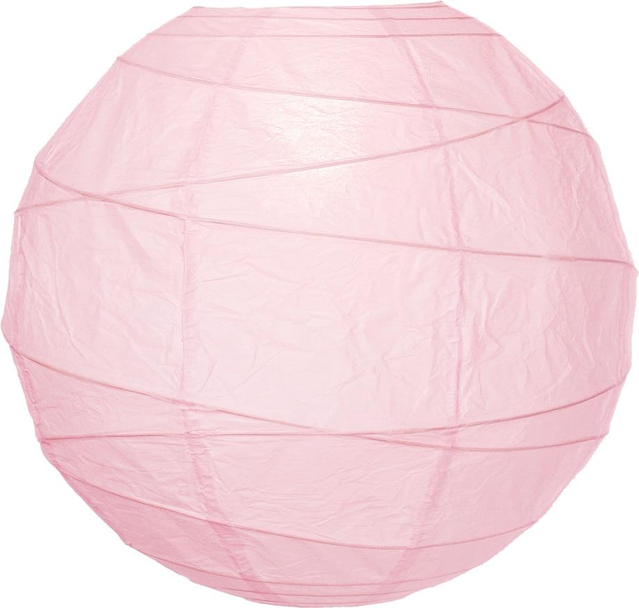 "BULK PACK (12) 12"" Rose Quartz Pink Round Paper Lantern, Crisscross Ribbing, Chinese Hanging Wedding & Party Decoration - PaperLanternStore.com - Paper Lanterns, Decor, Party Lights & More"