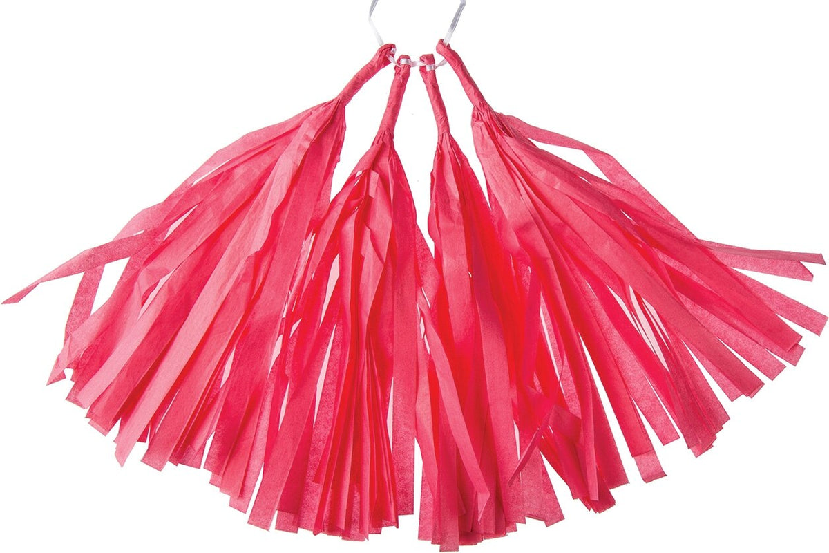 BLOWOUT Tulip Pink Tissue Paper Tassel, Set of 4 - PaperLanternStore.com - Paper Lanterns, Decor, Party Lights & More
