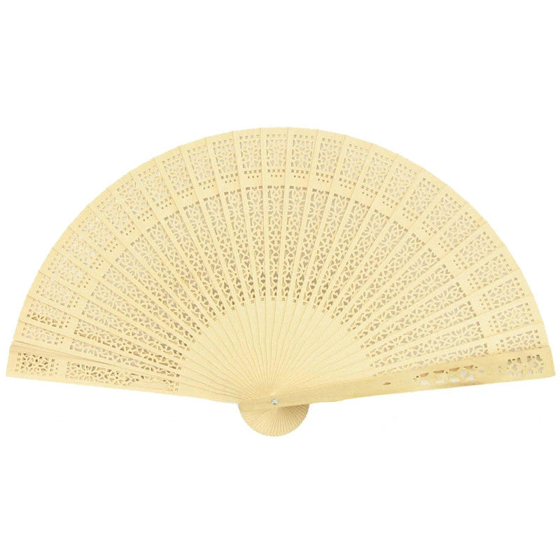 "8"" Natural Beige / Ivory Tan Sandalwood Folding Hand Fan w/ Organza Bag for Weddings (10 PACK)"