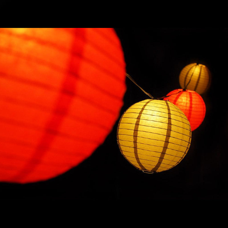"8"" Chinese New Year Red and Gold Paper Lantern String Light COMBO Kit (12 FT, EXPANDABLE, Black Cord) - PaperLanternStore.com - Paper Lanterns, Decor, Party Lights & More"
