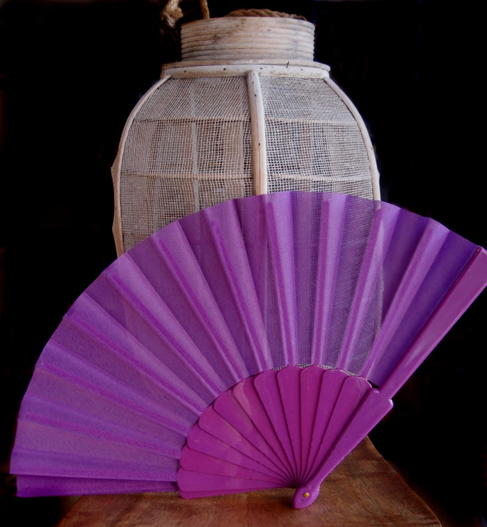 "9"" Violet Nylon Hand Fans for Weddings (10 Pack)"