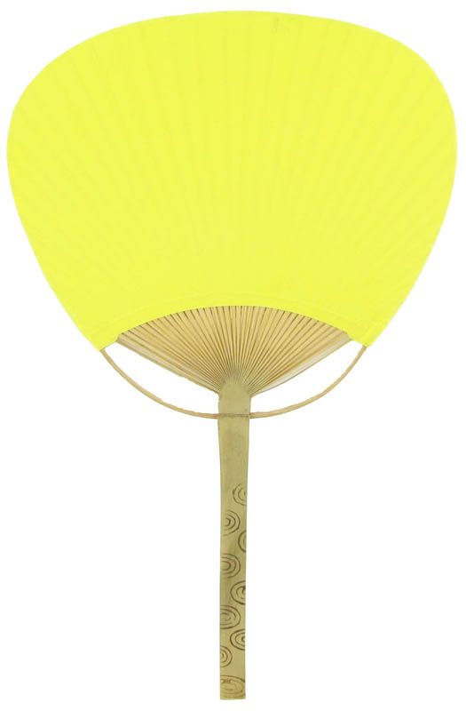"9"" Yellow Paddle Paper Hand Fans for Weddings (10 Pack)"