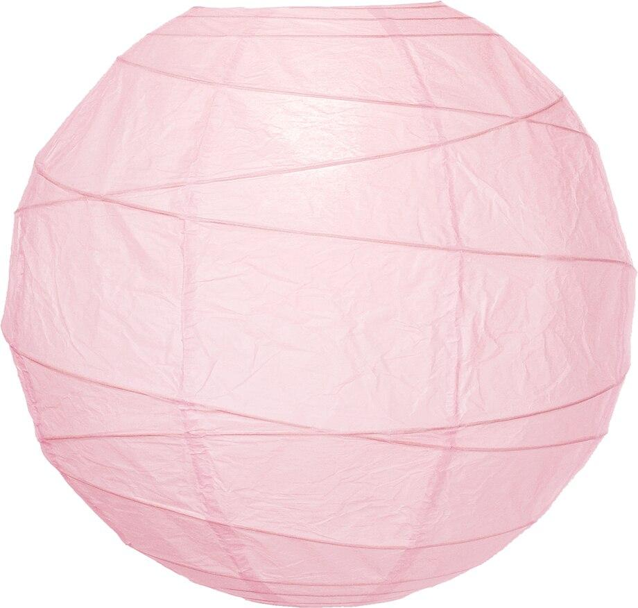 "BULK PACK (5) 6"" Rose Quartz Pink Round Paper Lantern, Crisscross Ribbing, Chinese Hanging Wedding & Party Decoration - PaperLanternStore.com - Paper Lanterns, Decor, Party Lights & More"
