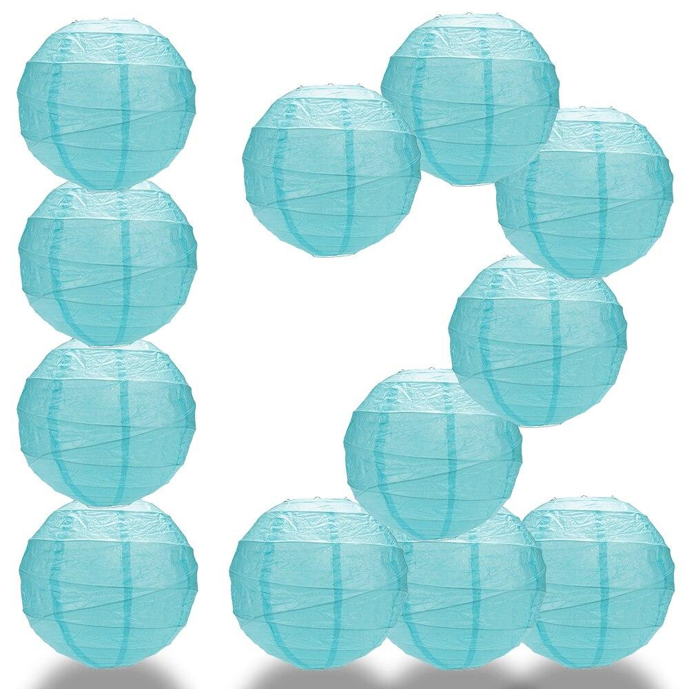 "BULK PACK (12) 16"" Baby Blue Round Paper Lantern, Crisscross Ribbing, Hanging Decoration - PaperLanternStore.com - Paper Lanterns, Decor, Party Lights & More"