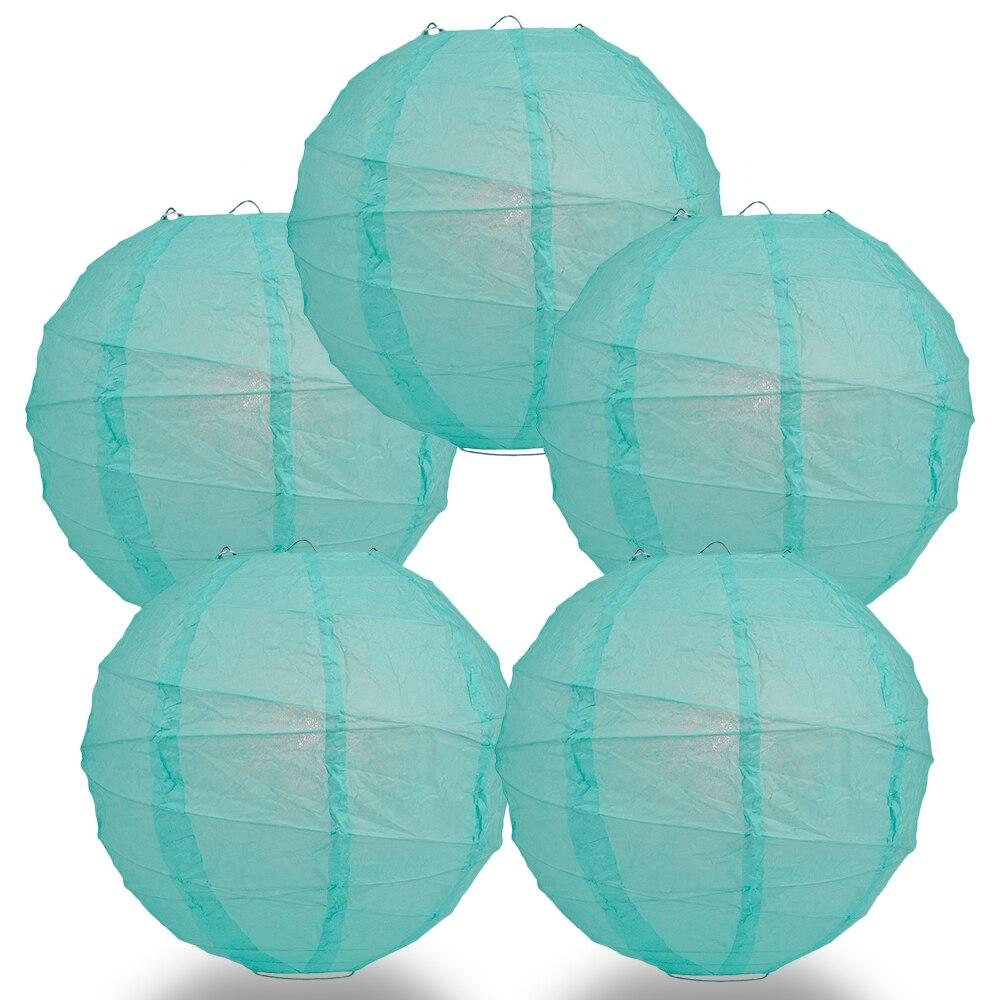"BULK PACK (5) 8"" Water Blue Round Paper Lantern, Crisscross Ribbing, Chinese Hanging Wedding & Party Decoration - PaperLanternStore.com - Paper Lanterns, Decor, Party Lights & More"