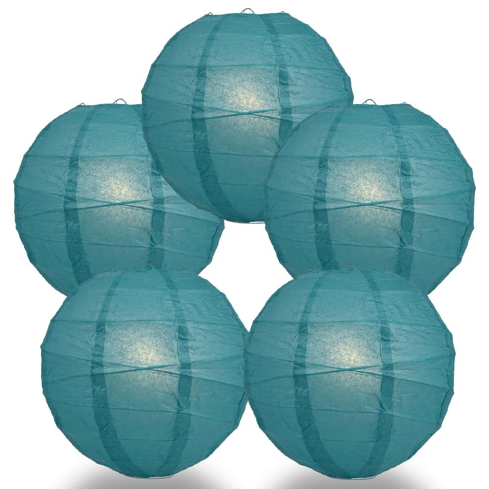 "BULK PACK (5) 24"" Tahiti Teal Round Paper Lantern, Crisscross Ribbing, Chinese Hanging Wedding & Party Decoration - PaperLanternStore.com - Paper Lanterns, Decor, Party Lights & More"