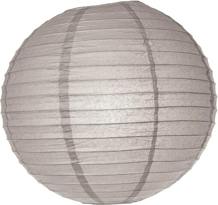 "BULK PACK (12) 24"" Gray / Grey Round Paper Lantern, Even Ribbing, Chinese Hanging Wedding & Party Decoration - PaperLanternStore.com - Paper Lanterns, Decor, Party Lights & More"