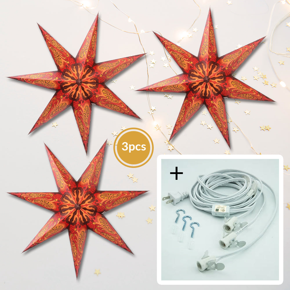 "3-PACK + Cord | 7 Point Crimson Fantasy 24"" Illuminated Paper Star Lanterns and Lamp Cord Hanging Decorations"