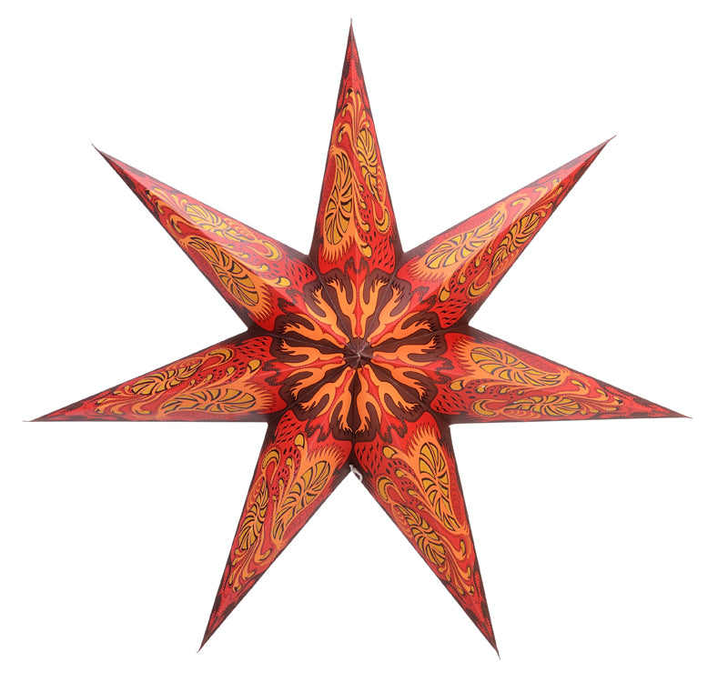 "24"" 7 Point Crimson Fantasy Paper Star Lantern, Chinese Hanging Wedding & Party Decoration"