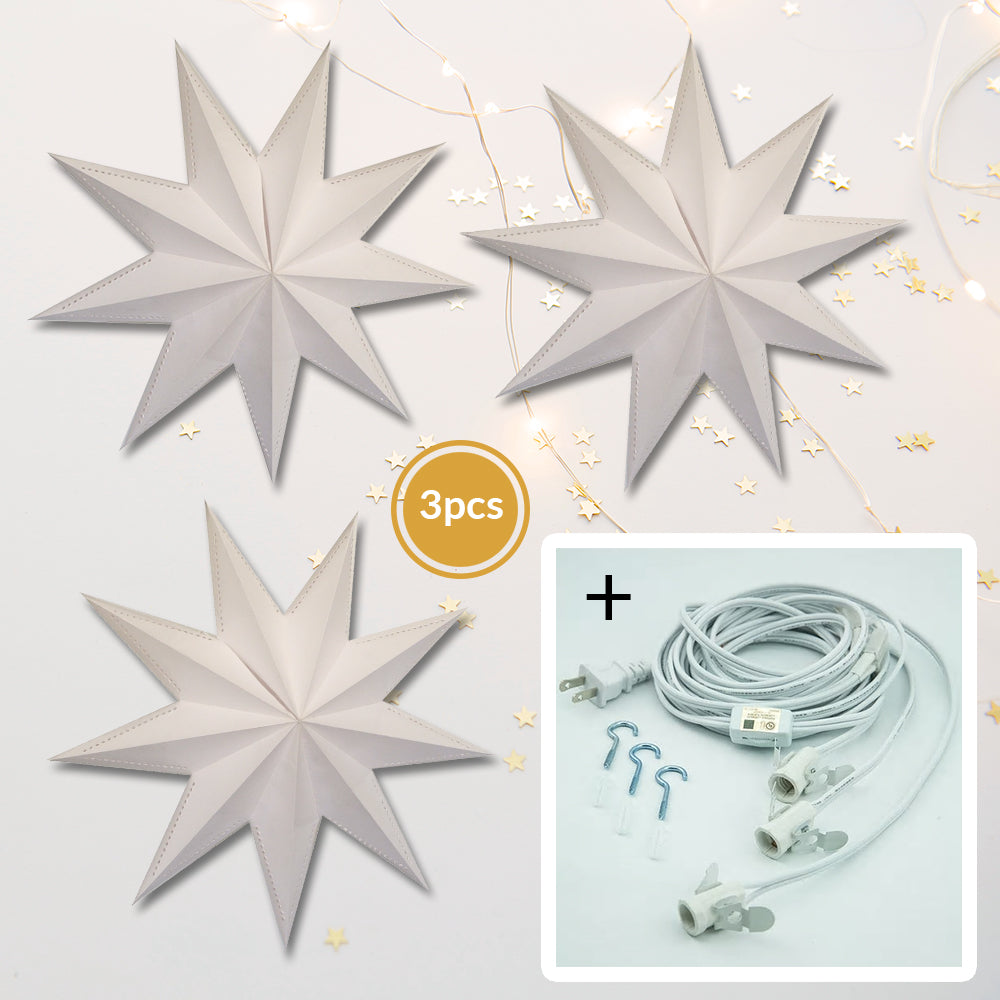 "3-PACK + Cord | 9 Point White Laminate 30"" Illuminated Paper Star Lanterns and Lamp Cord Hanging Decorations"