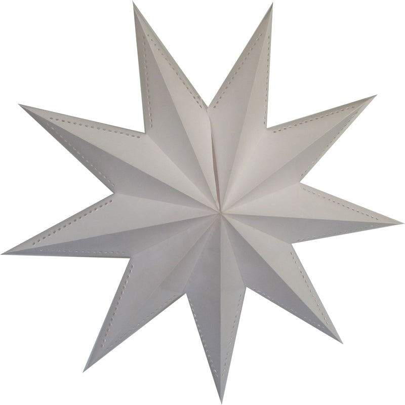 "30"" 9 Point White Laminate Paper Star Lantern, Chinese Hanging Wedding & Party Decoration"