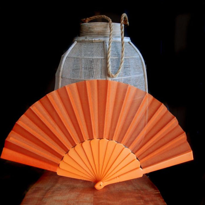 "BLOWOUT 9"" Orange Nylon Hand Fans for Weddings (10 Pack)"