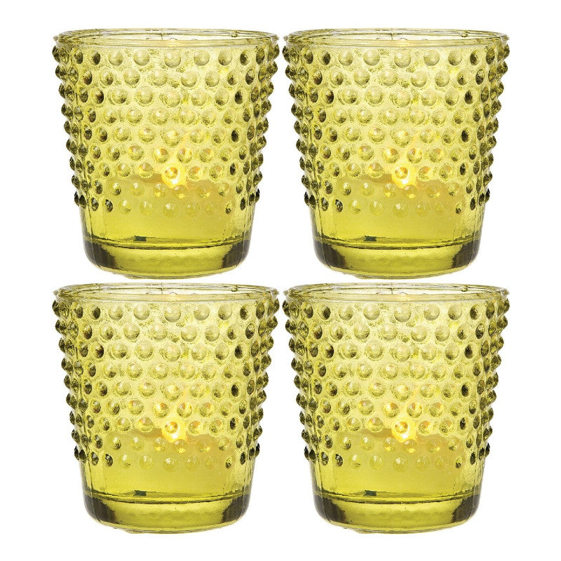 "4 Pack | 2.5"" Chartreuse Green Candace Hobnail Design Vintage Glass Candle Holder"