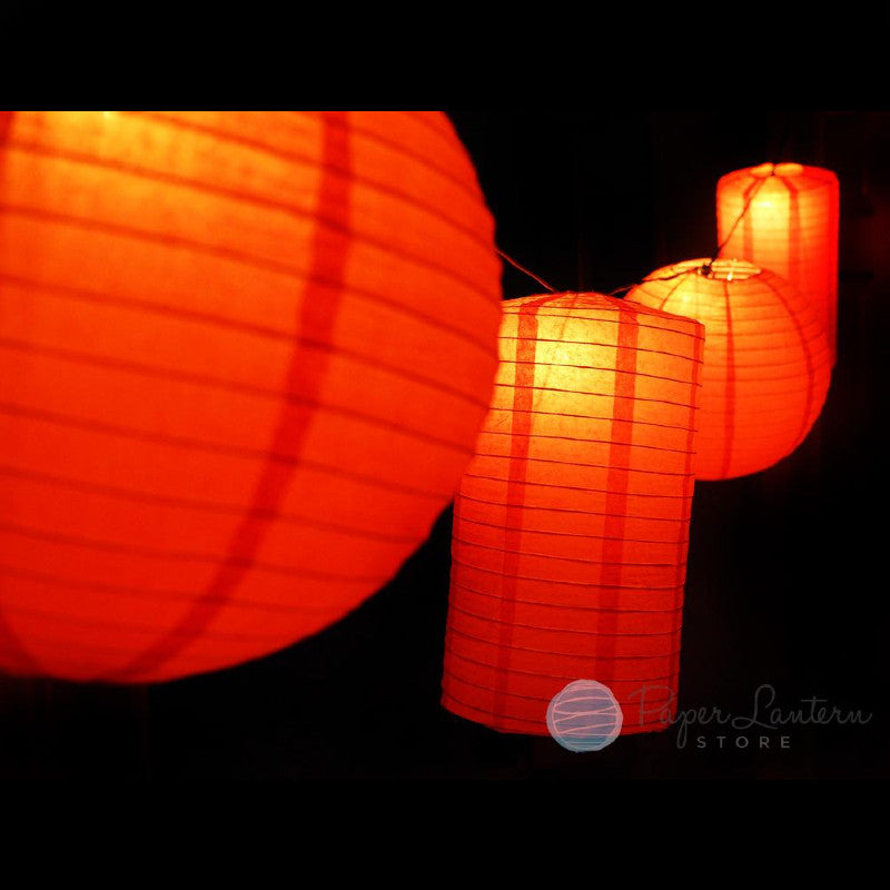 "8"" Chinese New Year Round & Cylinder Paper Lantern String Light COMBO Kit (12 FT, EXPANDABLE, Black Cord) - PaperLanternStore.com - Paper Lanterns, Decor, Party Lights & More"