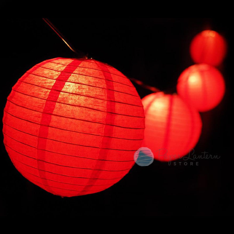 "8"" Chinese New Year Paper Lantern String Light COMBO Kit (12 FT, EXPANDABLE, Black Cord)"