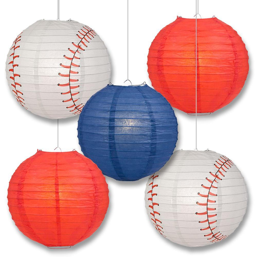 Cleveland Pro Baseball 14-inch Paper Lanterns 5pc Combo Party Pack - Navy Blue & Red - PaperLanternStore.com - Paper Lanterns, Decor, Party Lights & More