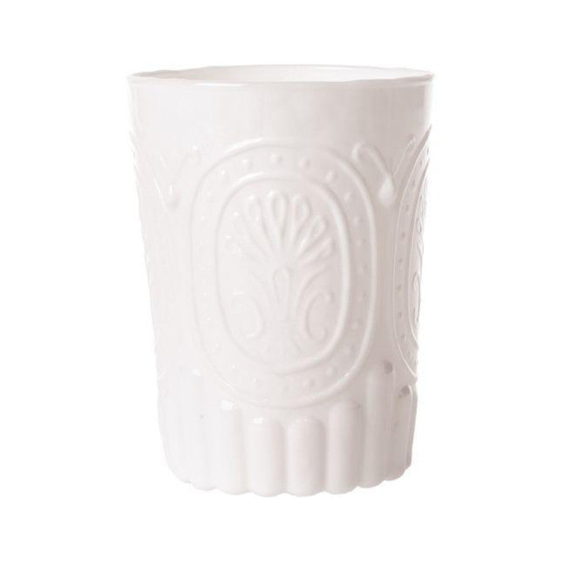 12 Ounce Milk White Medallion Design Glass Tumbler Drinkware - PaperLanternStore.com - Paper Lanterns, Decor, Party Lights & More
