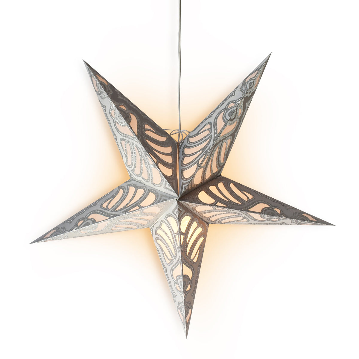 "3-PACK + Cord | 24"" Silver Parrot Glitter Paper Star Lantern and Lamp Cord Hanging Decoration - PaperLanternStore.com - Paper Lanterns, Decor, Party Lights & More"