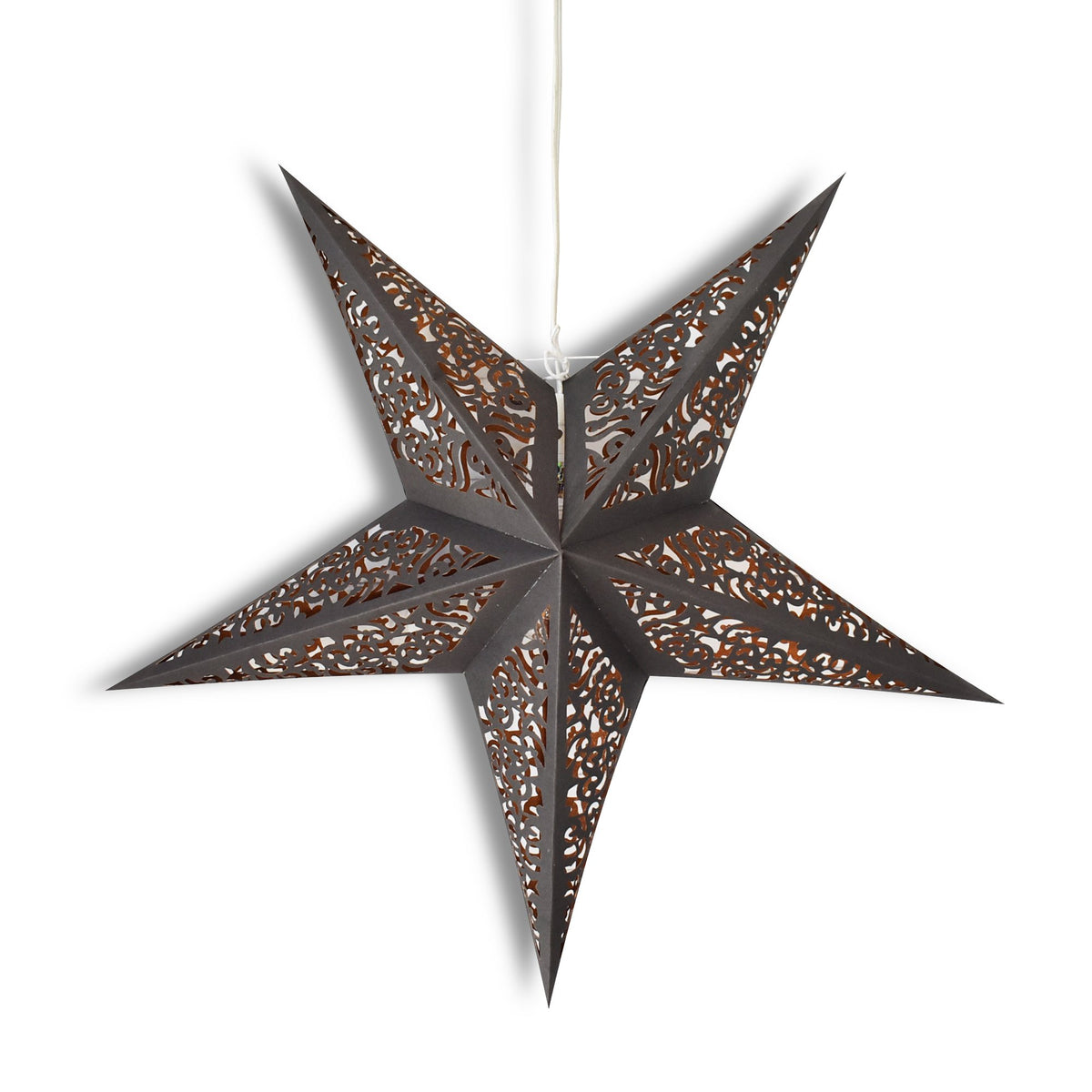 "3-PACK + Cord | 24"" Black / Gold Moroccan Glitter Paper Star Lantern and Lamp Cord Hanging Decoration - PaperLanternStore.com - Paper Lanterns, Decor, Party Lights & More"