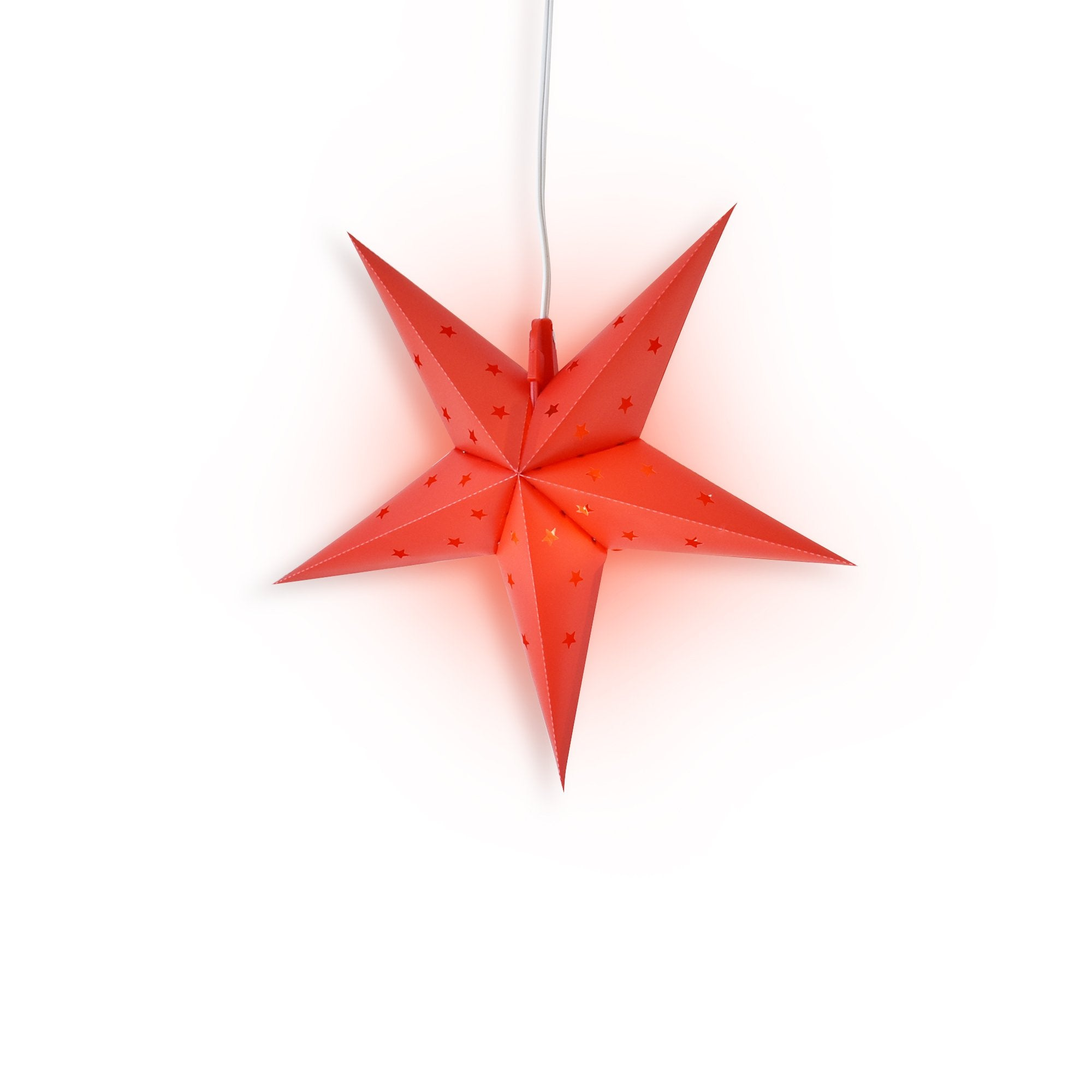 "LANTERN + CORD + BULB | 16"" Red Weatherproof Star Lantern Lamp, Hanging Decoration - PaperLanternStore.com - Paper Lanterns, Decor, Party Lights & More"