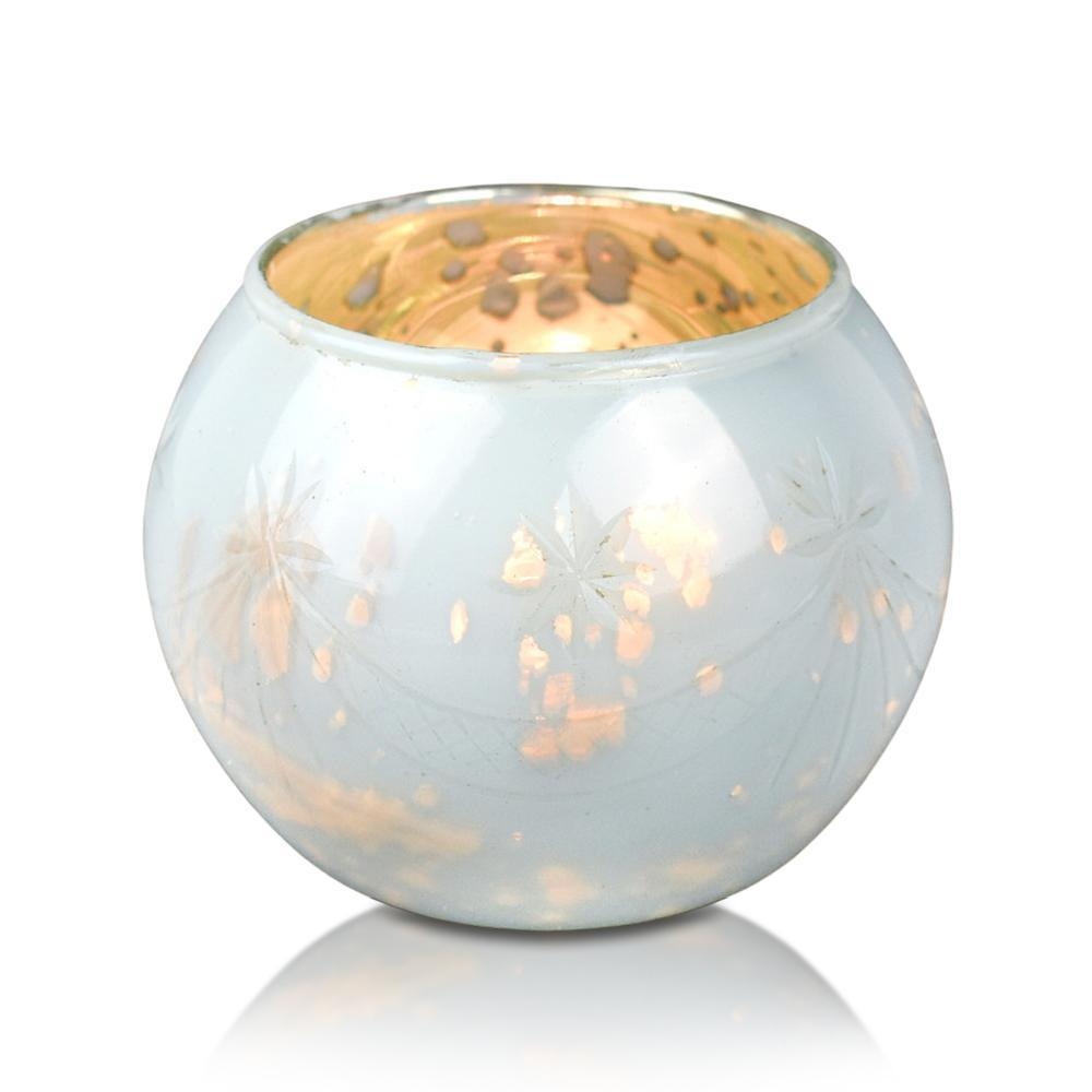 4 Pack | Vintage Mercury Glass Globe Candle Holders (3-Inch, Mary Design, Pearl White) - For use with Tea Lights - Home Decor, Parties and Wedding Decorations - PaperLanternStore.com - Paper Lanterns, Decor, Party Lights & More