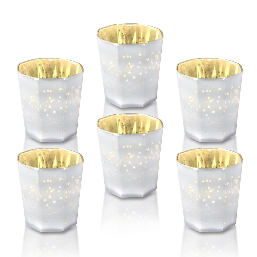 6 Pack | Patricia Mercury Glass Tealight Holder - Pearl White For Use with Tea Lights - For Home Decor, Parties and Wedding Decorations - PaperLanternStore.com - Paper Lanterns, Decor, Party Lights & More