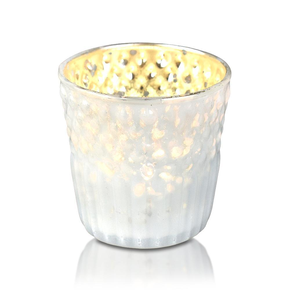 6 Pack | Mercury Glass Tealight Holders (2.75-Inches, Ophelia Design, Pearl White) - For Use with Tea Lights - For Home Decor, Parties and Wedding Decorations - PaperLanternStore.com - Paper Lanterns, Decor, Party Lights & More