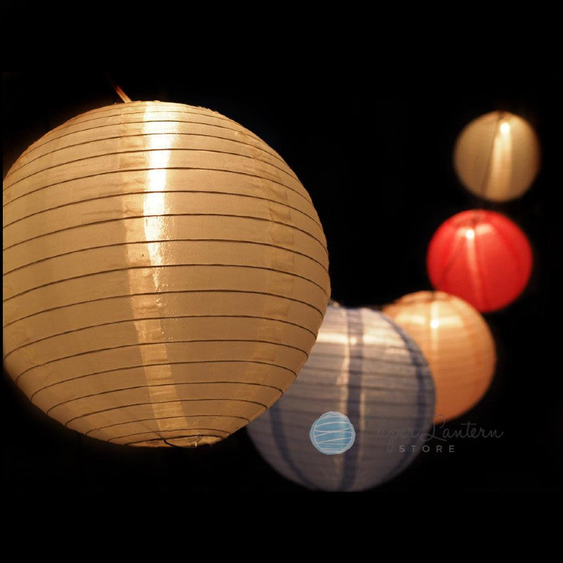 "12"" Easter / Baby Shower Shimmering Nylon Lantern String Light COMBO Kit (21 FT) - PaperLanternStore.com - Paper Lanterns, Decor, Party Lights & More"