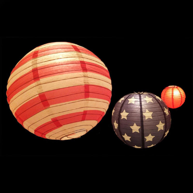 "8/12/14"" 4th of July Red, White and Blue Round Paper Lanterns, Even Ribbing, Hanging Decoration Set (3-PACK)"