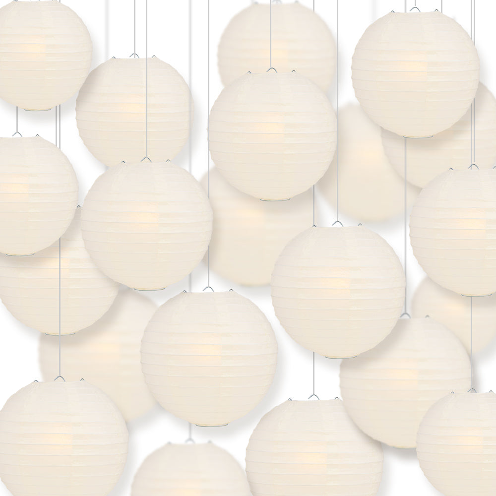 "BULK PACK (100) 16"" Beige / Ivory Round Paper Lanterns, Even Ribbing, Hanging Decoration"