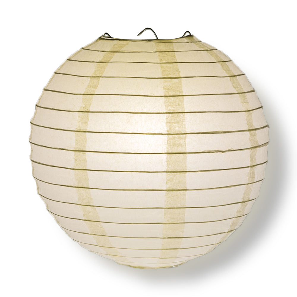 "BULK PACK (100) 14"" Beige / Ivory Round Paper Lanterns, Even Ribbing, Hanging Decoration"
