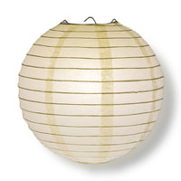 "BULK PACK (6) 24"" Beige / Ivory Round Paper Lanterns, Even Ribbing, Hanging Decoration"