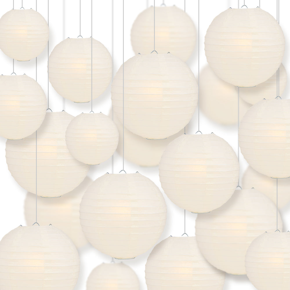 Ultimate 20pc Beige Paper Lantern Party Pack - Assorted Sizes of 6, 8, 10, 12 for Weddings, Birthday, Events and Decor