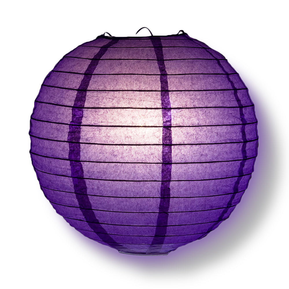 12-PC Royal Purple Paper Lantern Chinese Hanging Wedding & Party Assorted Decoration Set, 12/10/8-Inch
