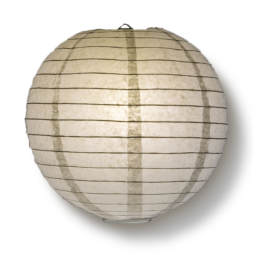 "4"" Gray / Grey Round Paper Lantern, Even Ribbing, Hanging Decoration (10 PACK) - PaperLanternStore.com - Paper Lanterns, Decor, Party Lights & More"