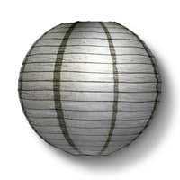 "4"" Driftwood Grey Round Paper Lantern, Even Ribbing, Hanging Decoration (10 PACK)"