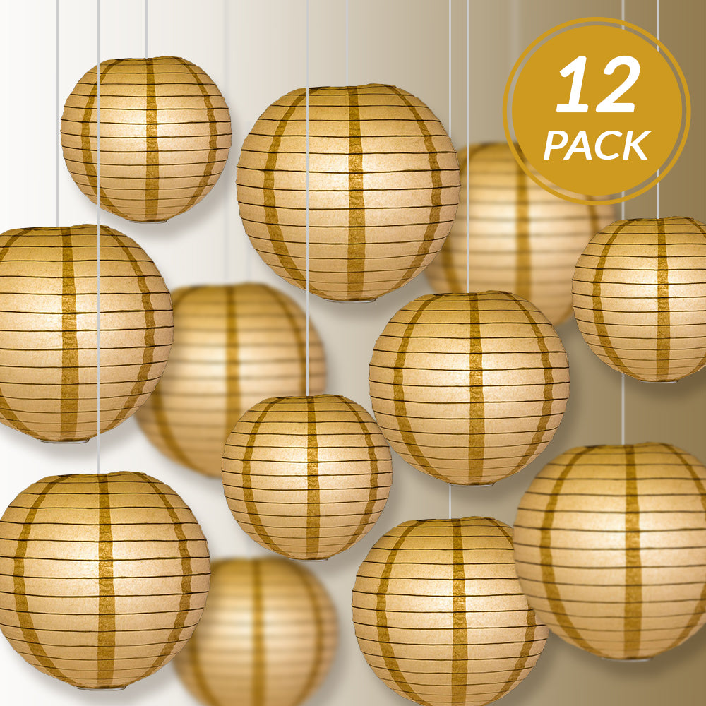 12-PC Mocha / Light Brown Paper Lantern Chinese Hanging Wedding & Party Assorted Decoration Set, 12/10/8-Inch