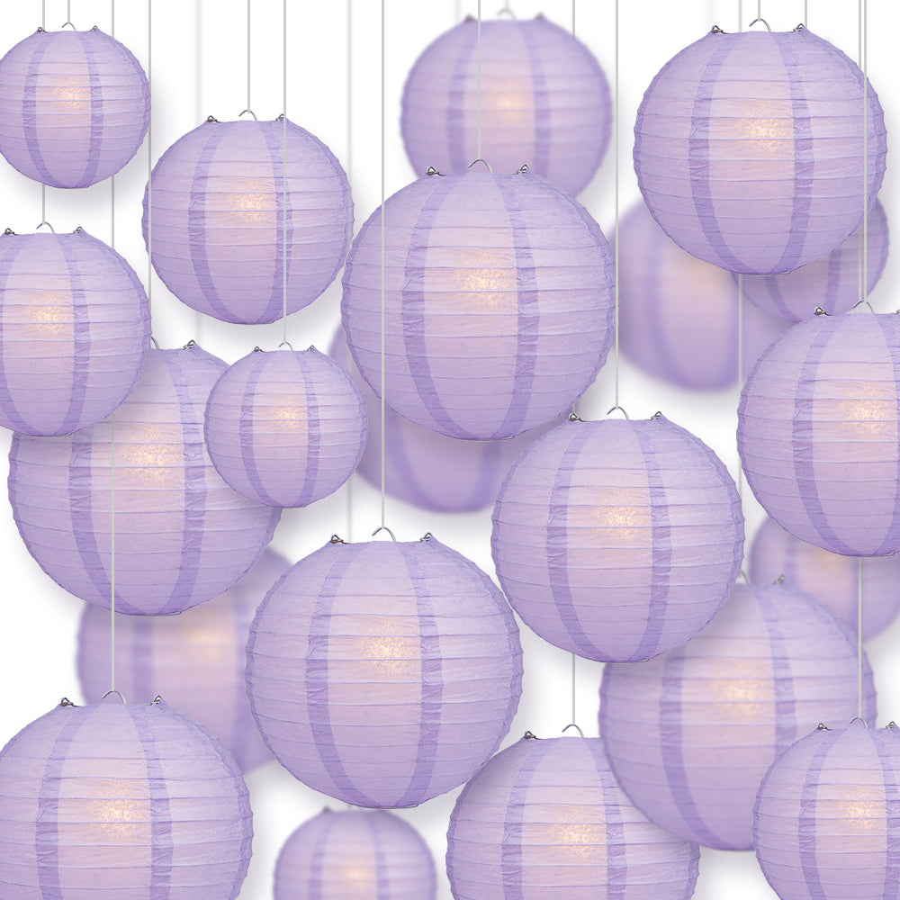 Ultimate 20pc Lavender Paper Lantern Party Pack - Assorted Sizes of 6, 8, 10, 12 for Weddings, Birthday, Events and Decor