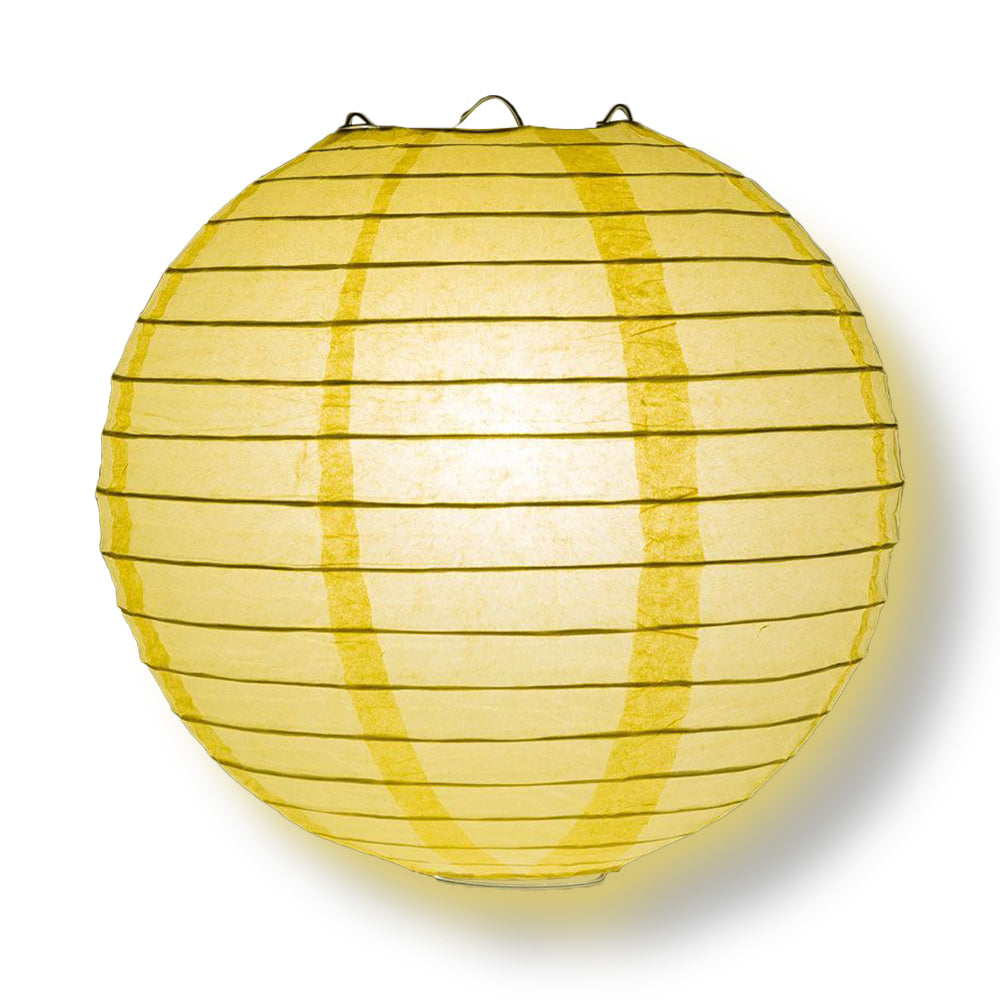 "4"" Lemon Yellow Round Paper Lantern, Even Ribbing, Hanging Decoration (10-Pack)"