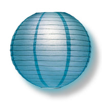 "4"" Baby Blue Round Paper Lantern, Even Ribbing, Hanging Decoration (10 PACK)"
